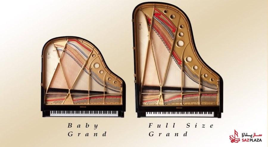 ابعاد پیانو Medium Grand در مقایسه با ابعاد پیانو Baby Grand